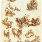 Leonardo da vinci  study sheet with horses